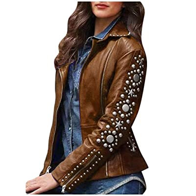 ZYAPCNGN Women Lapel Zip Jacket Long Sleeve Warm Coat Plus Size Studs Short Outerwear Classic Ladies Coat Outwear Coat: Clothing