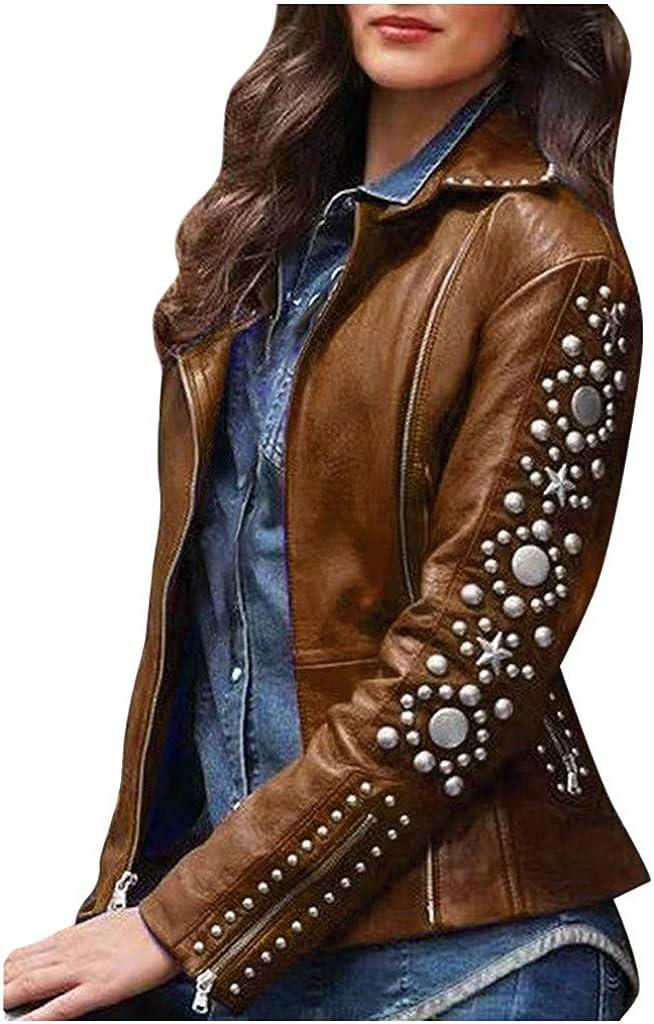 Women Vintage Faux Leather Jacket Lapel Rivet Biker Moto Jacket Zipper Front Long Sleeve Short Fall Spring Outwear