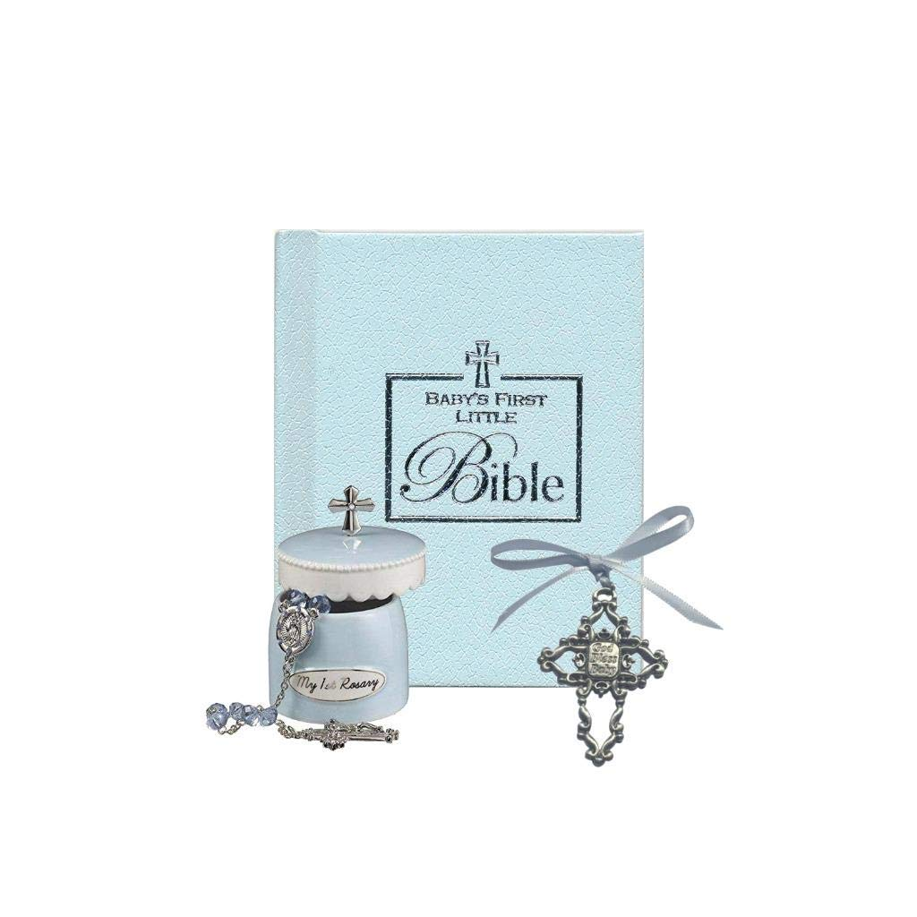 Christening Gift Set Blue Bible, Blue Rosary Beads, and Blue Metal Cross