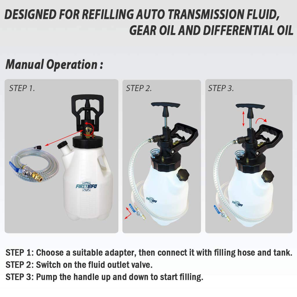 FIRSTINFO 12 5L Pneumatic and Manual 2 Way Auto Transmission Fluid (ATF)  Oil & Fluid Dispenser Refilling System Pump with 15 Adapters Set