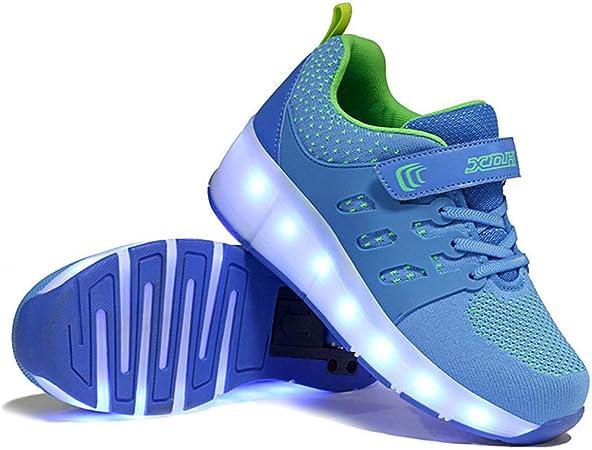 Led Luces Zapatos con Ruedas,Unisex Led Luz Automática de Skate Zapatillas con Ruedas USB Cargando Zapatos Mutilsport Aire Libre y Deporte Gimnasia Running Zapatillas28 EU: Amazon.es: Hogar