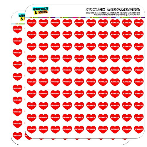 Clear Mayonnaise - Graphics and More I Love Heart Mayonnaise Planner Calendar Scrapbooking Crafting Stickers - 200 1/2