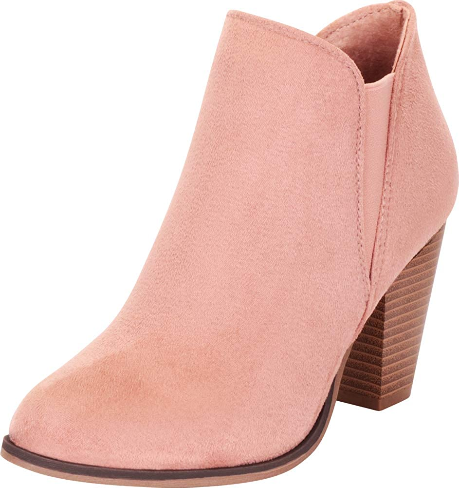 Dusty Pink Imsu Cambridge Select Women's Western Stretch Stacked Chunky Heel Ankle Bootie