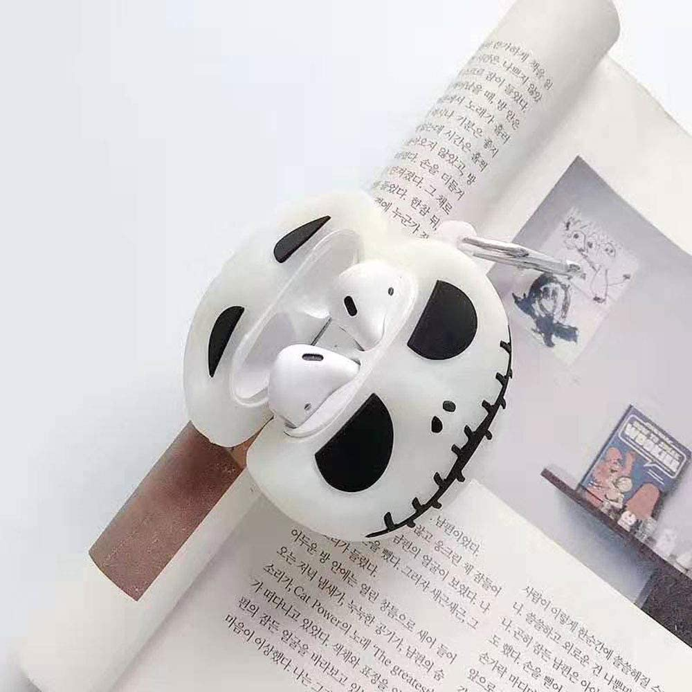 ICI-Rencontrer Super Creative Luminous Skull Design Airpods Case Cool Skeleton Wireless Bluetooth Earphone Shockproof Soft Silcone Protector AirPods Accessories With Hook