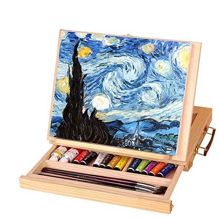 Mesa de escritorio de madera ajustable Caballete con cajón Tablero ...