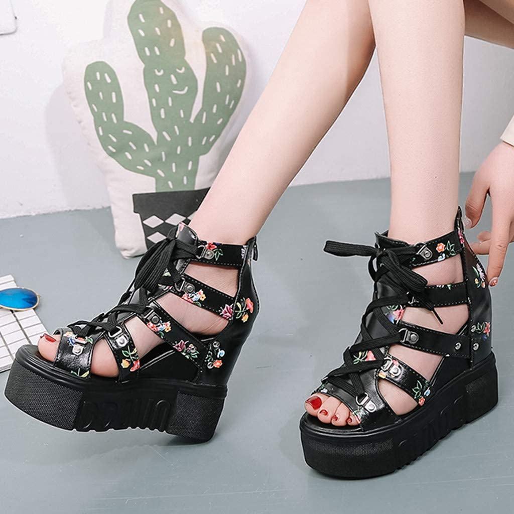 FengGa Summer Womens Cutout Peep Toe Wedge Sandals High Heel Flower Printing Cross Straps Fashion Roman Sandals