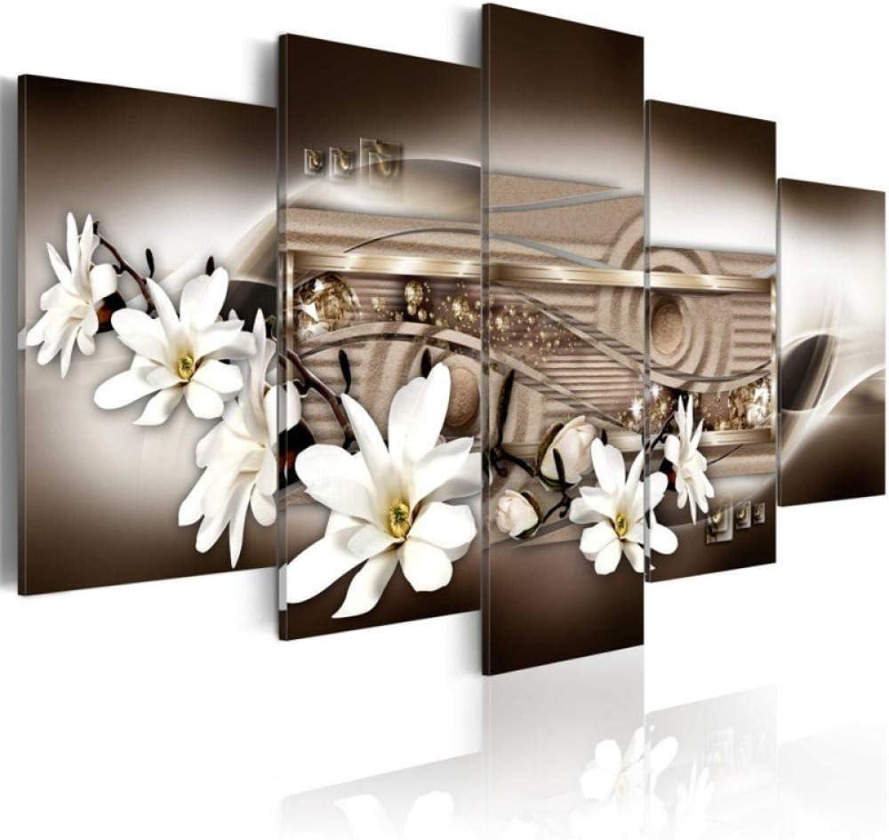 WYXYD Mpresiones Sobre Lienzo 5 Cuadros 200 * 100Cm Fondo Marrón Vintage Flor De Magnolia Blanca Modernos Salón Decoracion Murales Pared Lona Hogar Dormitorios Decor En Lienzo Cuadros Salón