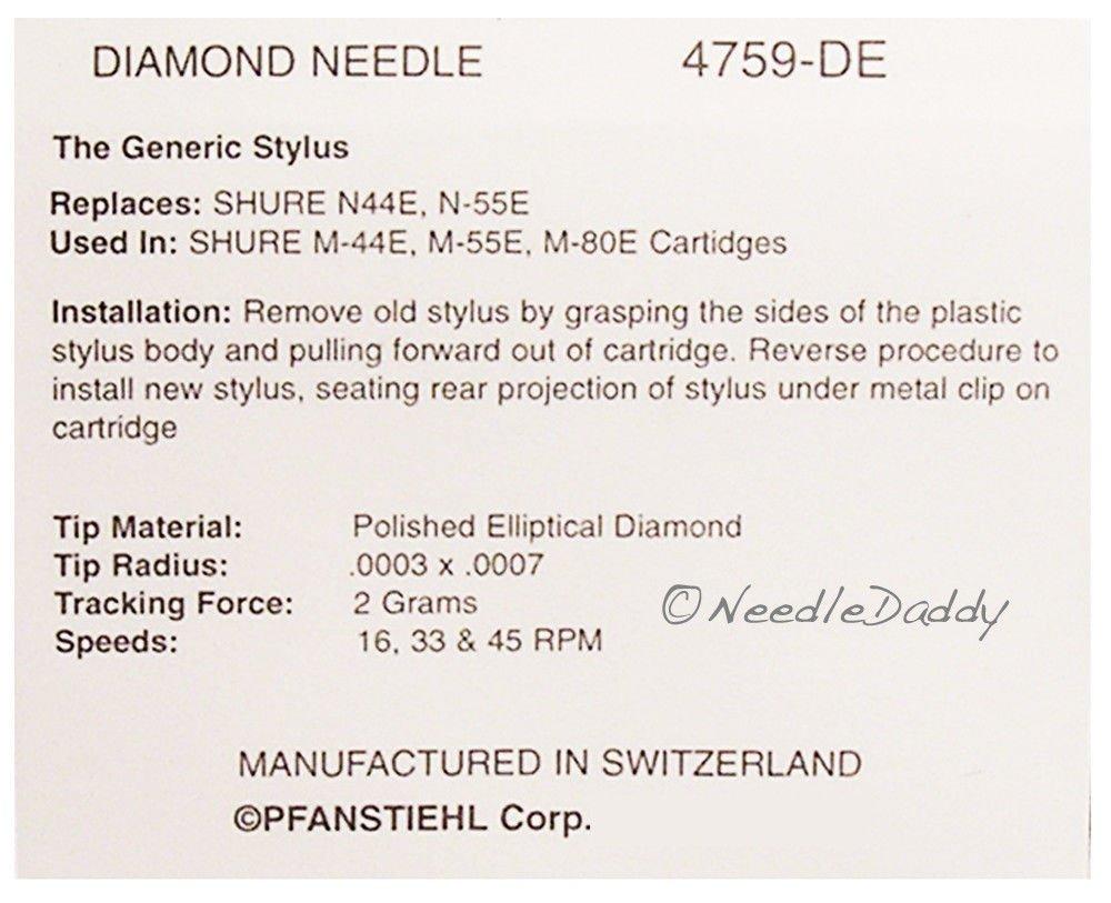 STYLUS NEEDLE FOR SHURE N44E M55E N55E M44 M80E VN2E 4759-DE 759-DE