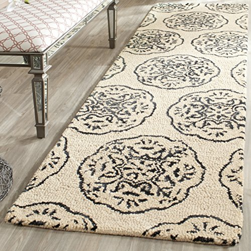Safavieh Bella Collection BEL711D Handmade Ivory and Charcoal Premium Wool Runner 2 3 x 8
