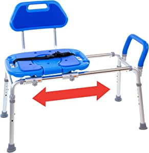 HydroGlyde Premium Heavy Duty, Padded Sliding Bathtub Transfer Bench and Shower Chair with Cut-Out SEAT. Adjustable Legs and Safety Belt. Quick Tool-Less Assembly (Blue)