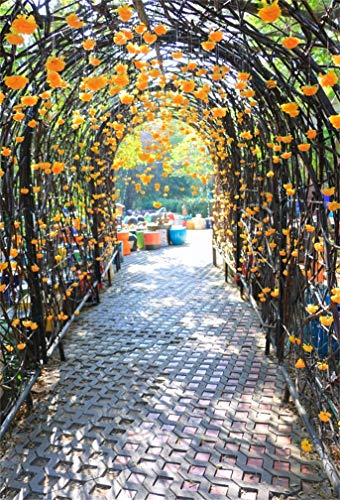 CSFOTO 4x6ft Background Flower Gate and Wedding Decor Door Photography Backdrop Flower Tunnel Archway Wedding Party Garden Park Blossom Flower Vacation Tour Photo Studio Props Polyester Wallpaper (Iron Door Arched Gate)