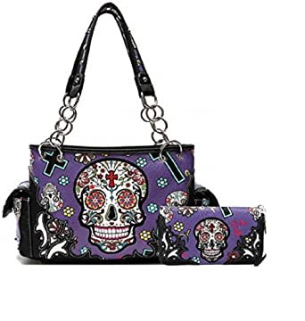638998b834fa Amazon.com: Cowgirl Trendy Western Concealed Carry Cross Sugar Skull ...
