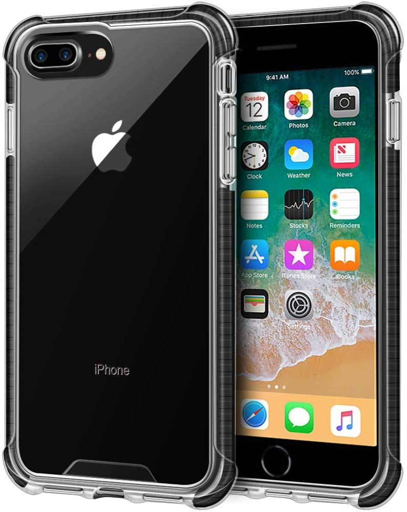 LOEV iPhone 8 Plus Case Clear, iPhone 7 Plus Case Clear, Shockproof Slim Hybrid Protective Case with 4 Corners Drop Protection Cushion TPU Bumper Transparent Cover for iPhone 8 Plus /7 Plus, Black
