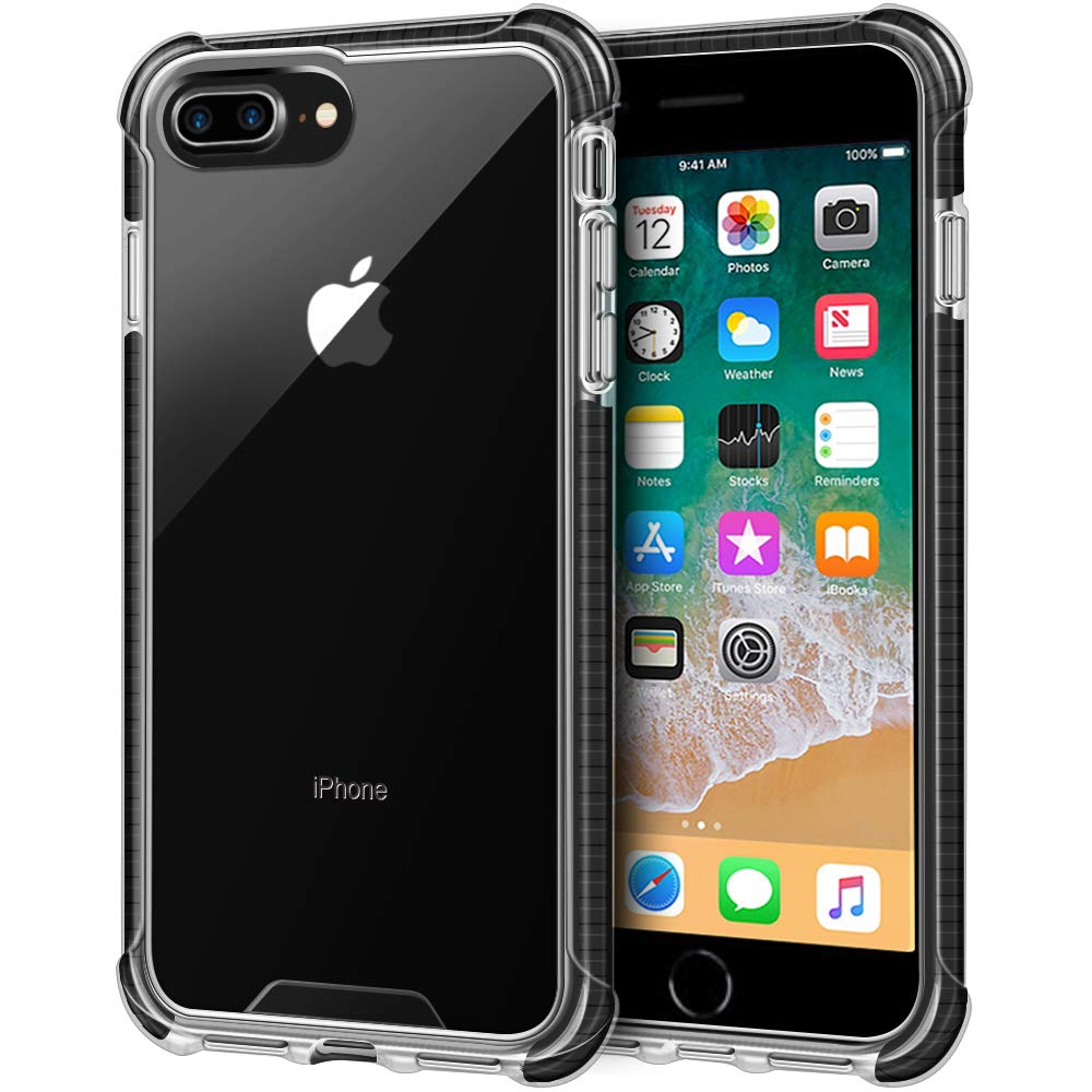 Clear iPhone 8 Plus Case, Clear iPhone 7 Plus Case, LOEV Shockproof Slim Protective Case with 4 Corners Drop Protection Cushion TPU Bumper Transparent Cover for Apple iPhone 8 Plus /7 Plus, Black