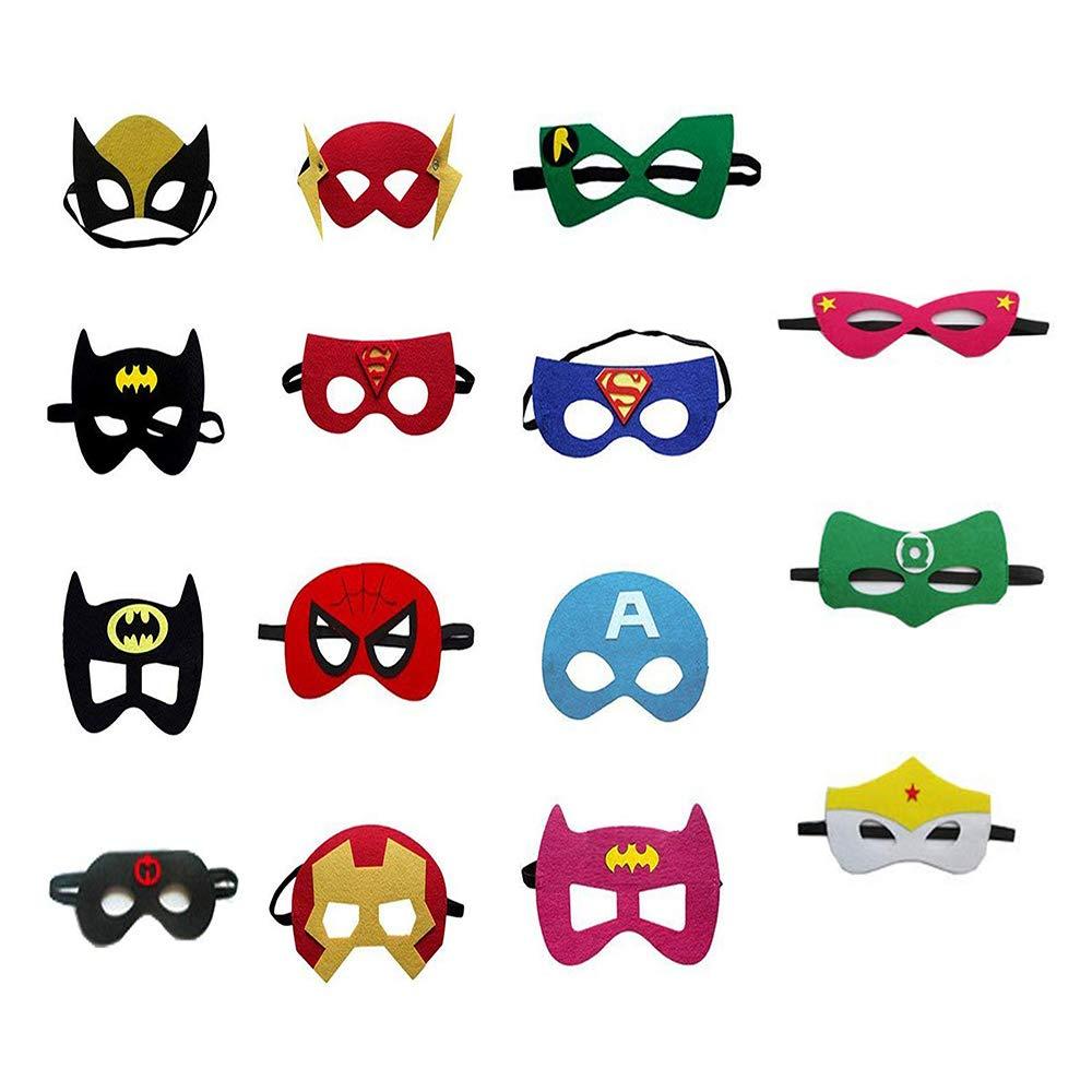 SouthStar Masks for Children, 15pcs Superhero Masks Felt Superhero Mask with Elastic Cord, Ideal for Children\'s Parties Bag Fillers