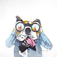 Bignut Art 100% Hand Painted Dog and Telescope Framed Oil Paintings Canvas Wall Art Living Room Bedroom Home Wall Decor…