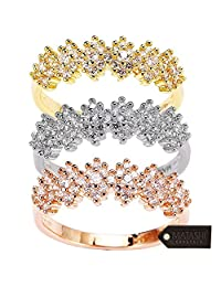 Matashi CZ Gold Rings for Women (3Piece Set) Vintage Design|Gold, Rose Gold and White-Gold Plated Finish | Cute, Trendy Fashion Jewelry for Girls, Teens, Ladies (Size 8)