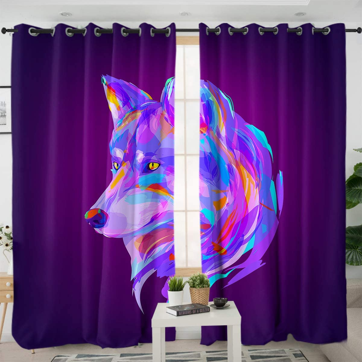 Sleepwish Colorful Wolf Printed Curtain Panels Retro Animal Window Treatment Sets Decorative Curtains for Bedroom Living Room (2 Panels, 52x84 Inch, Grommet Top)