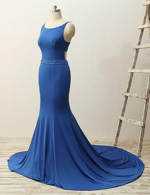 JAEDEN Mermaid Long Evening Dresses Sexy Backless Prom Dress Simple