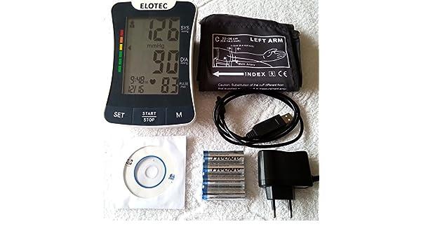 High Tech - Tensiómetro de brazo Fuente de alimentación de 220 V o pilas - para mediciones Individual con PC largo tiempo auswertungs Software - Tensiómetro ...