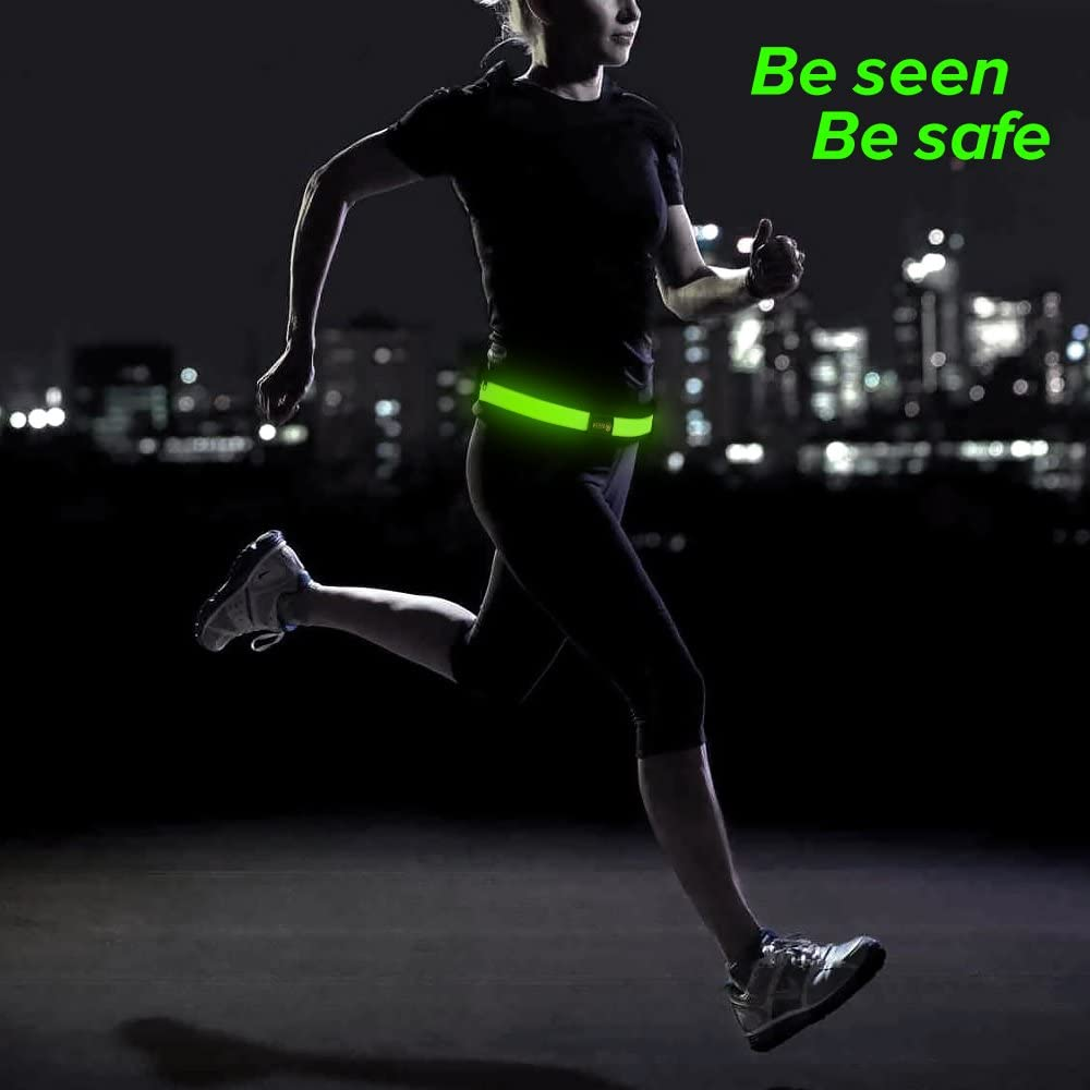 Walking BSEEN Led Running Belt USB Rechargeable Reflective Waist Pack High Visibility Fanny Pocket for Running Camping Cycling