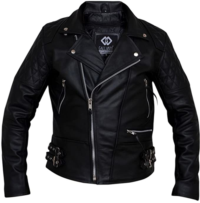 Cow Hide Mens Classic Quilted Black Real Leather Brando ...