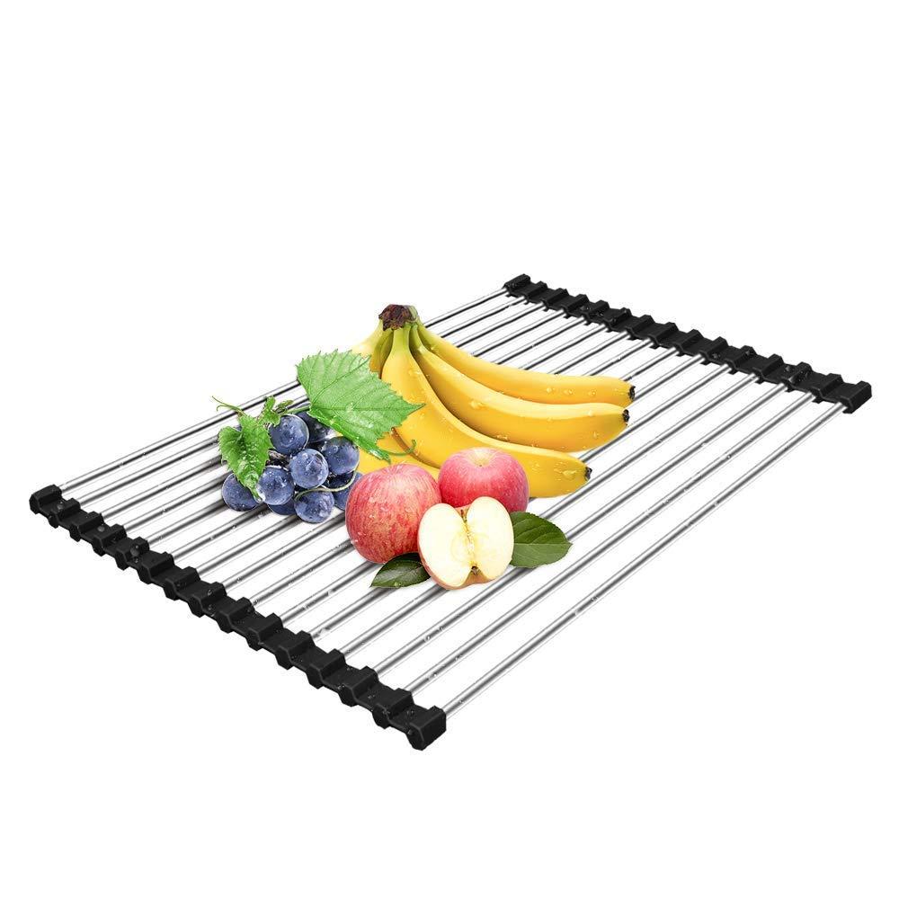 Stendino per piatti, acciaio inossidabile sopra il lavello scolapiatti, stuoia multiuso pieghevole per stoviglie, griglia di scarico per cucina aperil