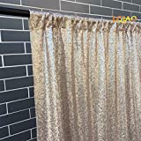 LQIAO Sequin Fabric Curtain Panels 50x63in-Champagne Shimmer Fabric Home Decoration Simple Pocket Style
