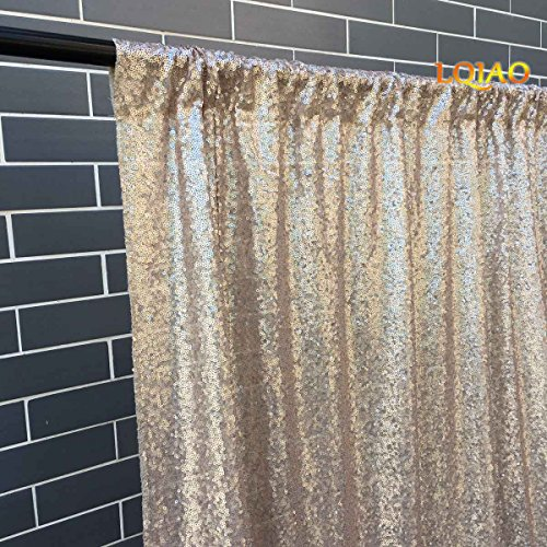 LQIAO Sequin Fabric Curtain Panels 50x63in-Champagne Shimmer Fabric Home Decoration Simple Pocket Style by LQIAO (Image #4)