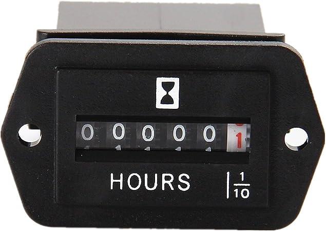 Jayron Mechanical Maintenance Hour Meter AC//DC 8-80V Analog Clock No Battery Long Life Surface Waterproof Design Easy Installation,for Generator air Compressor Lawn mowers snowblower