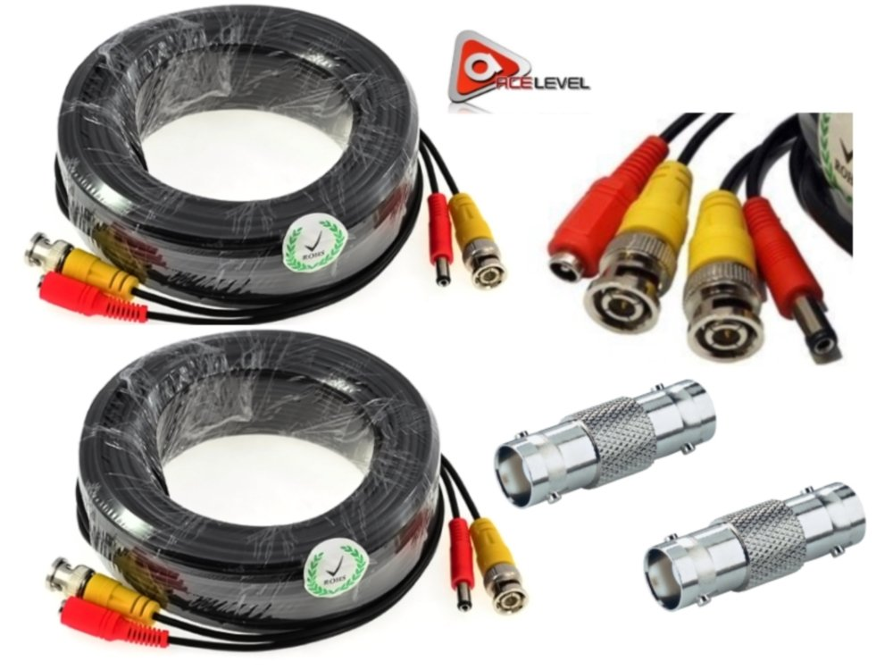 ACELEVEL 2 PACK PREMIUM 100Ft.THICK BNC EXTENSION CABLES FOR SWANN SYSTEMS BLACK