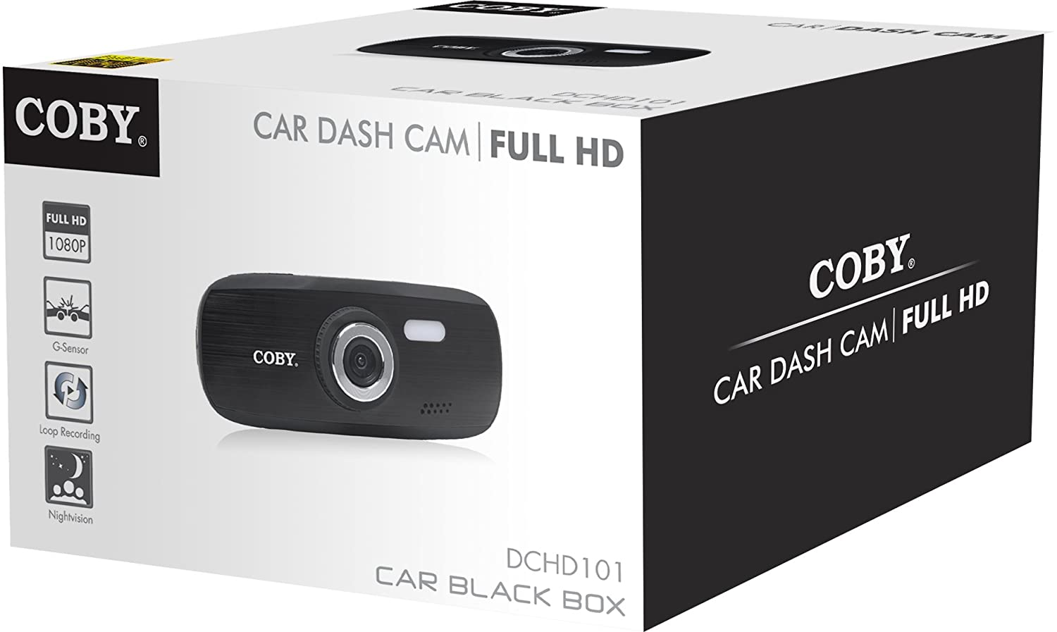 Amazon.com: Coby DCHD-101 4X Zoom 1080p Full HD Car Dash Cam and DVR Box (Black): Car Electronics