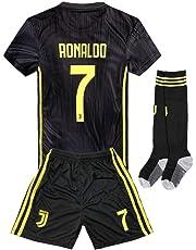 19453cf27 2018-2019 Away Home C Ronaldo  7 Juventus Kids Youth Soccer Jersey   Shorts