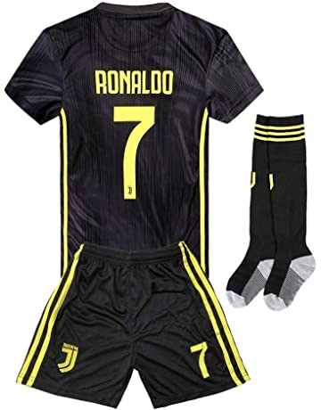2018-2019 Away Home C Ronaldo  7 Juventus Kids Youth Soccer Jersey   Shorts 46a1ea9ea
