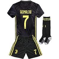 2018-2019 Away Home C Ronaldo #7 Juventus Kids Youth Soccer Jersey & Shorts