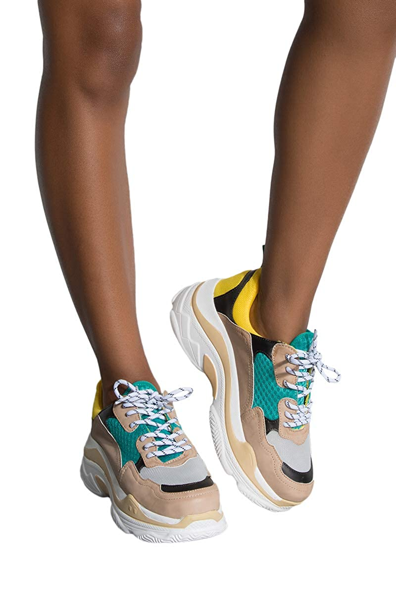 0f7709e0451be AKIRA Women's Teal Yellow Colorblock Chunky Retro Dad Sneaker Shoe Trainers