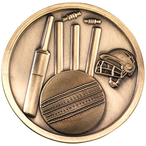 Lapal Dimension CRICKET MEDALLION - ANTIQUE GOLD 2.75in PACK OF TEN by Lapal Dimension