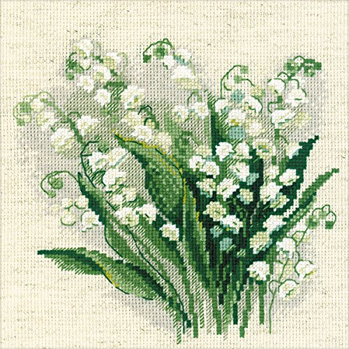 "Lilly of The Valley Counted Cross Stitch Kit, 8"" x 8"", 14-Co"