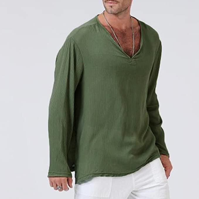Amazon.com: Easytoy Mens Summer Thai T-Shirt 100% Cotton Hippie Shirt V-Neck Beach Yoga Top: Sports & Outdoors