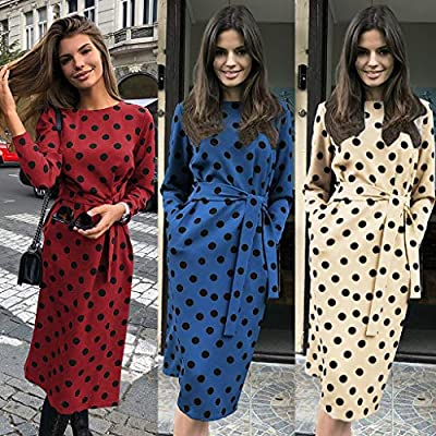 Dresses for Womens,DaySeventh Women O-Neck Casual Dots Long Sleeve Pockets Party Dress with Belt