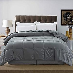 DOWNCOOLDown Alternative Quilted Comforter- Dark Grey Lightweight Duvet Insert or Stand-Alone Comforter with Corner Tabs, Full/Queen 88x92Inches