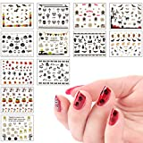 #8: Biubee 12 Sheets Halloween Nail Sticker- 3D Design Self Adhesive Nail Art Water Transfer Decals Stickers Manicure Decoration for Fingernails, Nail Tips