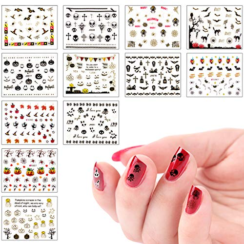 Biubee 3D Design Self Adhesive Halloween Nail Art Stickers- Halloween Nail Art Sticker Tattoo Decals Manicure Decoration for Fingernails, Nail Tips ()