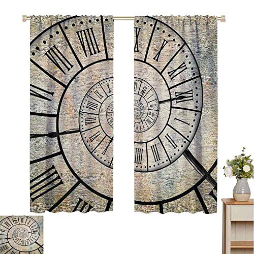 Mozenou Clock, Thermal Insulating Blackout Curtain, A Roman Digit Time Spiral on The Vintage Textured Background Design Passing of Time Print, Blackout Draperies for Bedroom Sepia