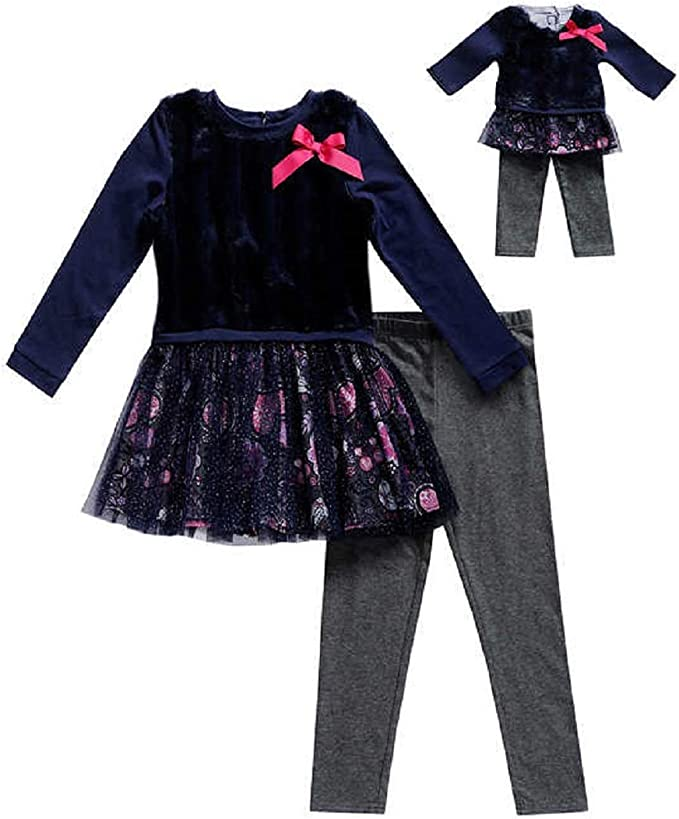 Matching Doll Outfit Navy Floral Size 10 Dollie /& Me Girls Tunic Leggings