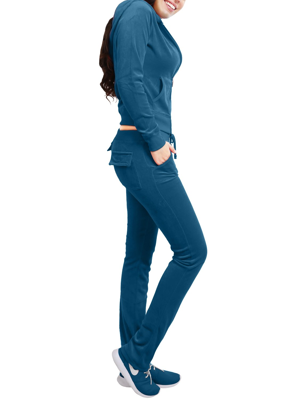 NE PEOPLE Womens Casual Basic Velour/Terry Zip Up Hoodie Sweatsuit Set S-3XL