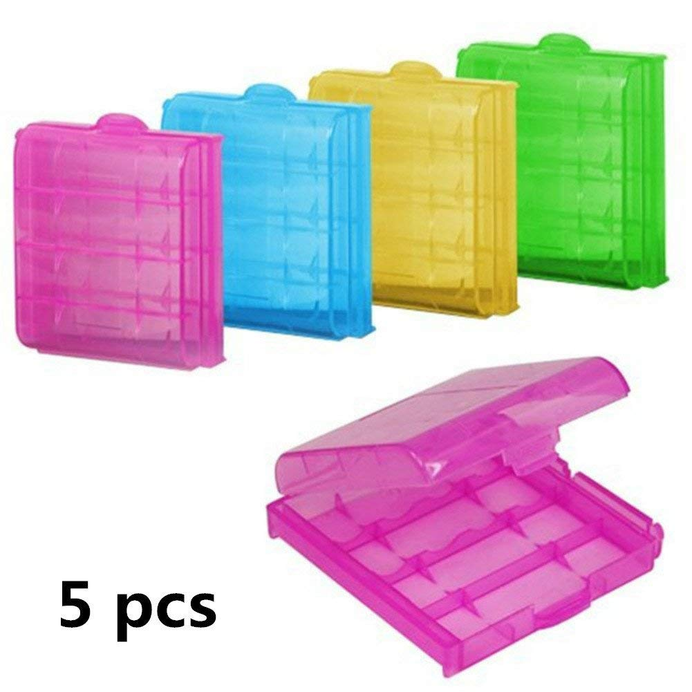 5pcs Battery Storage Box for 4 Batteries Battery Holder Hard Plastic Case Storage Box Alkaline Batteries AA or AAA Easy and Tidy Safe Stylish and Popular