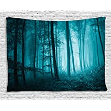 Ambesonne Mystic House Decor Tapestry, Magic Foggy Dark Forest Foliage Landscape Countryside Monochromic Artwork, Wall Hanging for Bedroom Living Room Dorm, 60 W X 40 L Inches, Teal