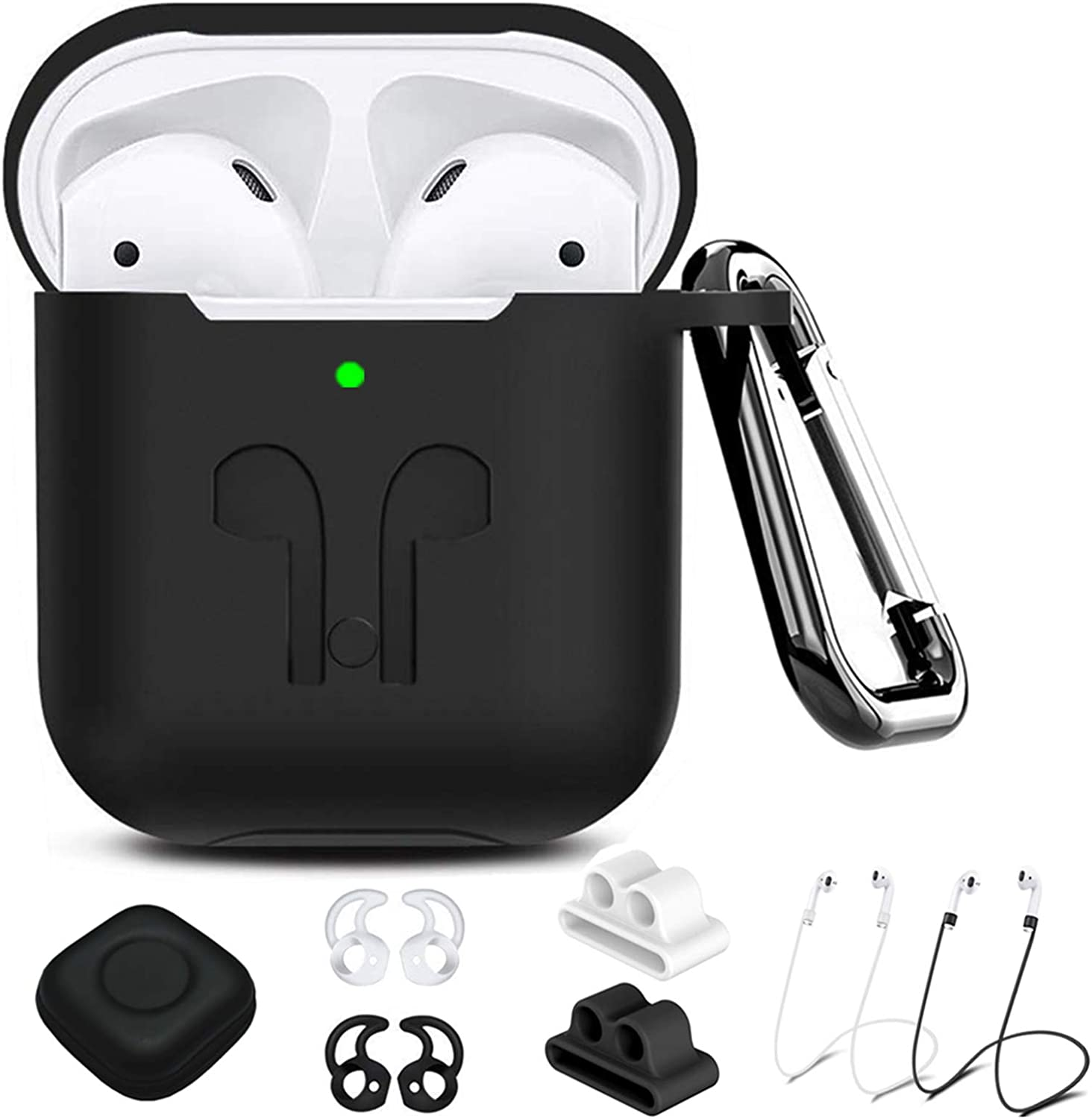 AirPods Case Compatible Apple Airpods 2&1 , 9 in 1 Airpods Accessories Kits Protective Silicone Cover and Skin with Earpods Watch Band Holder/Ear Hook/Strap/Clip/Keychain/Grip[LED Visible]-Black