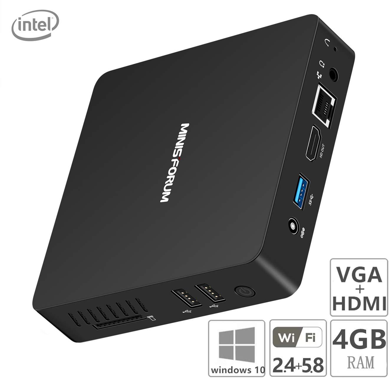 TALLA 4+64GB/ Z8350 (HDMI&VGA Port). Z83-F Fanless Mini PC, Procesador Intel Atom x5-Z8350 (caché de 2M, hasta 1.92GHz) 4K/4GB/64GB 1000Mbps LAN 2.4/5.8 WiFi de Banda Dual BT 4.0 Pantalla Dual con Puertos HDMI&VGA